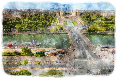 seine: Paris - watercolor style painting. Seine River and Trocadero. Digital artwork.