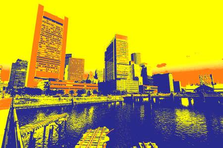 tri  color: Event poster - Boston. Tri color illustration, modern city view.