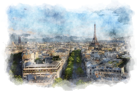 Paris - watercolor style painting. Eiffel Tower and skyline. Digital artwork.