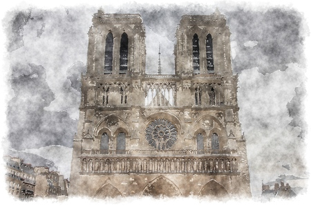 dame: Paris - watercolor style painting. Notre Dame Cathedral. Digital artwork.