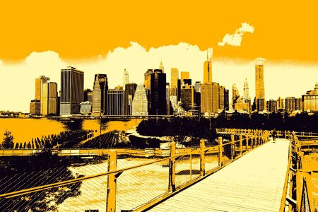 city view: Event poster - New York. Tri color illustration, modern city view.