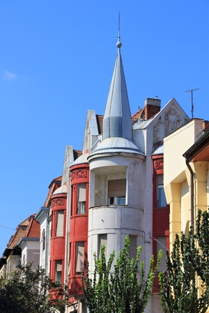szeged: Szeged, Hungary. Town in Csongrad county. Colorful residential architecture. Stock Photo