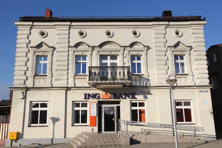 bank branch: CZELADZ, POLAND - MARCH 9, 2015: ING Bank branch in Czeladz, Poland. ING Group is a Dutch multinational banking and financial services corporation.