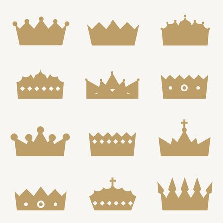 royal person: Crown icon collection - royal insignia vector illustration set.