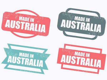australia stamp: Made in Australia - grunge vector stamp isolated.