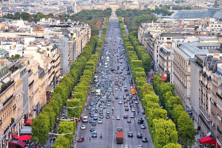 avenues: Paris, France - aerial city view with Champs Elysees avenue.