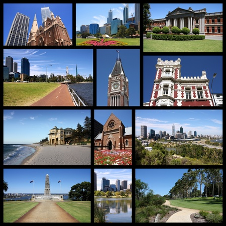 travel collage: Perth, Australia - travel collage with city skylines and landmarks. Stock Photo