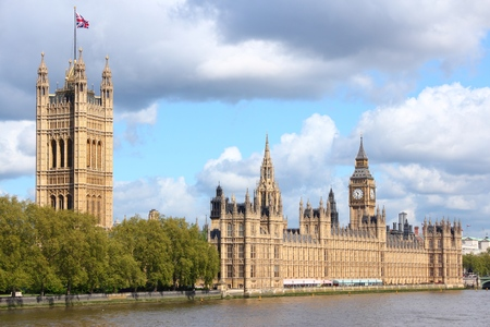 bigben: London, UK - Palace of Westminster and Thames river.