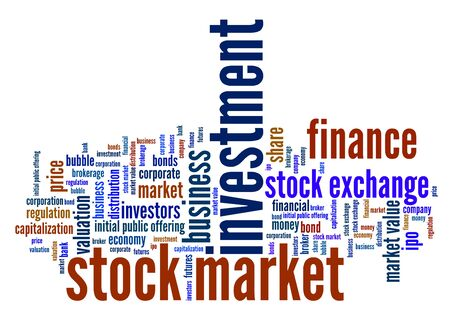 investment concept: Stock market investment keywords cloud illustration. Word collage concept. Stock Photo