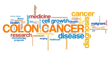 colon cancer: Colon cancer word collage concept. Serious illness treatment.