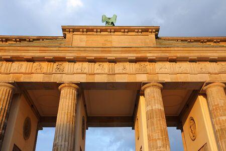 brandenburg gate: Berlin, Germany in sunset light. Capital city landmark - Brandenburg Gate.