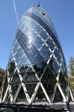 LONDON, UK - MAY 13, 2012: View of 30 St Mary Axe building in London. It was completed in 2003 and is among top 10 tallest London buildings (at 180 m). Editorial