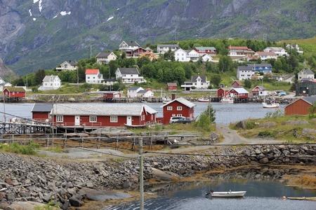 arctic zone: Lofoten archipelago in Norway. Reine fishing village in Moskenesoya island.