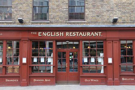 uk cuisine: LONDON, UK - APRIL 22, 2016: The English Restaurant in Spitalfields, London, UK. According to Tripadvisor there are at least 16,500 restaurants in London.