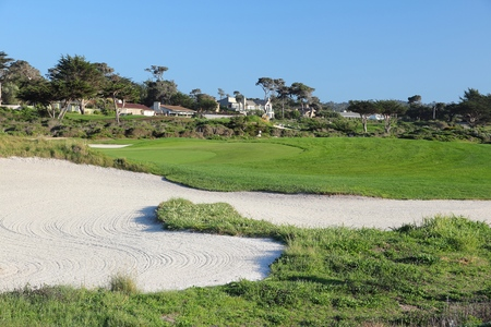 pebble beach: MONTEREY COUNTY, USA - APRIL 7, 2014: Pebble Beach Golf Links in California. It is one of most renowned golf courses with PGA Tour and Champions Tour events every year.