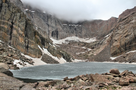 rocky mountain national park: Rocky Mountain National Park in Colorado, USA. Frozen Chasm Lake in June.