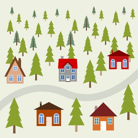 Peaceful mountain town - cute homes in green forest. Illustration