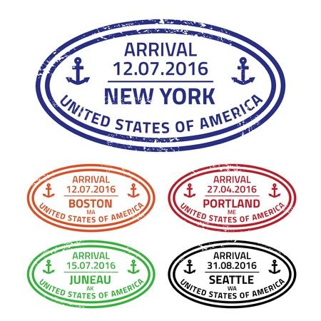 海のポートから切手を旅行 - クルーズの目的地アメリカ合衆国。