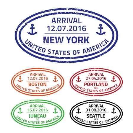 Reis van postzegels uit de zeehavens - cruise bestemmingen in de Verenigde Staten. Stock Illustratie