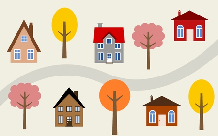 tree lined street: Cartoon town illustration - cute homes along the road. Autumn theme.