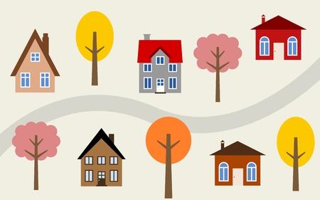 neighbourhood: Cartoon town illustration - cute homes along the road. Autumn theme.