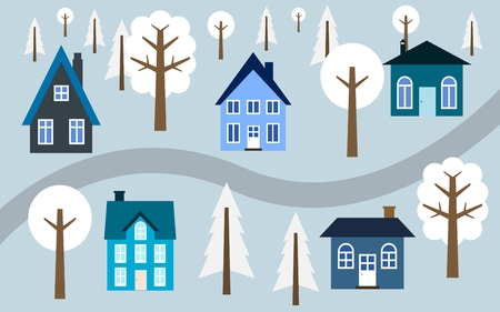 Cartoon village illustration - cute homes along the road. Winter town.