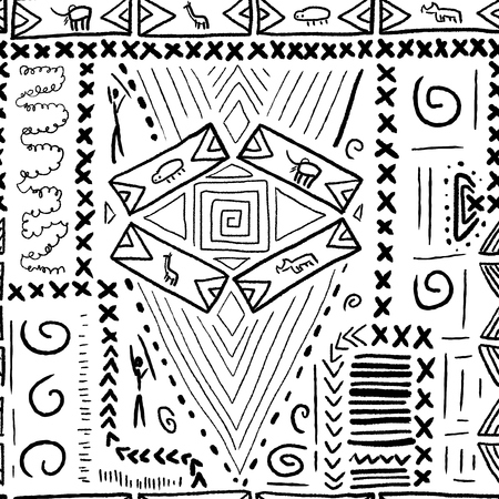 aboriginal: Africa pattern - aboriginal style seamless background. Vector illustration. Illustration