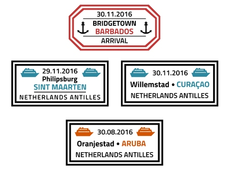 antilles: Barbados, Sint Marteen, Curacao and Aruba travel stamps - Caribbean cruise ship destination badge.