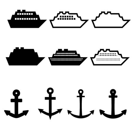 cruise ship icon: Cruise ship icon set - passenger vessels and anchor icons collection.