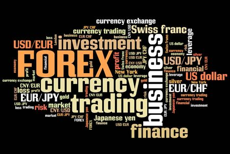 foreign exchange: Forex - foreign exchange currency trading word cloud illustration. Tag cloud keyword concept. Stock Photo