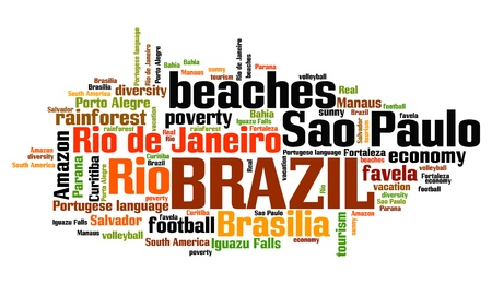 keyword: Brazil word cloud illustration. Tag cloud keyword concept. Stock Photo