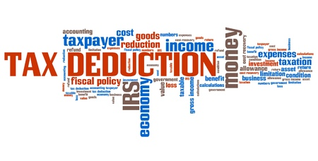 tax policy: Tax deduction - corporate accounting industry issues and concepts word cloud illustration. Word collage concept.