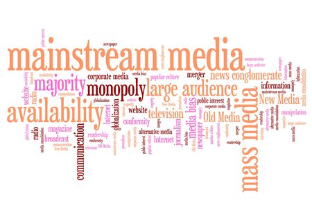 manipulated: Mainstream media issues and concepts word cloud illustration. Word collage concept. Stock Photo
