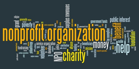 nonprofit: Nonprofit organizations issues and concepts word cloud illustration. Word collage concept.