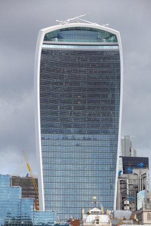 postmodern: LONDON, UK - APRIL 23, 2016: 20 Fenchurch Street skyscraper in London, UK. The postmodern style office building was designed by Rafael Vinoly. It is nicknamed Walkie Talkie.