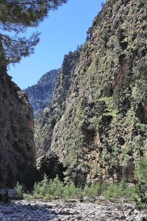 samaria: Crete island in Greece. Samaria Gorge hiking trail in Lefka Ori mountains. Stock Photo