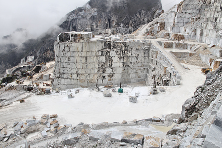 carrara: Carrara, Italy - marble quarry in Fantiscritti valley. Marble works of Miseglia. Apuan Alps mountains.