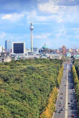 city park skyline: Capital city skyline with Tiergarten park at Berlin, Germany.