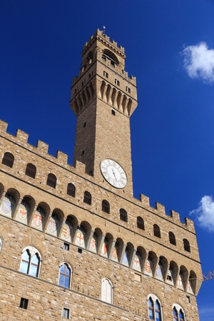 crenellated: Florence - Palazzo Vecchio. Old town romanesque architecture in Tuscany, Italy.