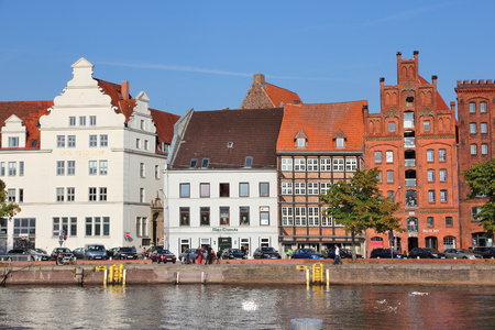 trave: LUBECK, GERMANY - AUGUST 29, 2014: People visit Old Town in Lubeck, Germany. Lubeck is the 2nd largest city in Schleswig-Holstein region. Its old town is a UNESCO World Heritage Site. Editorial