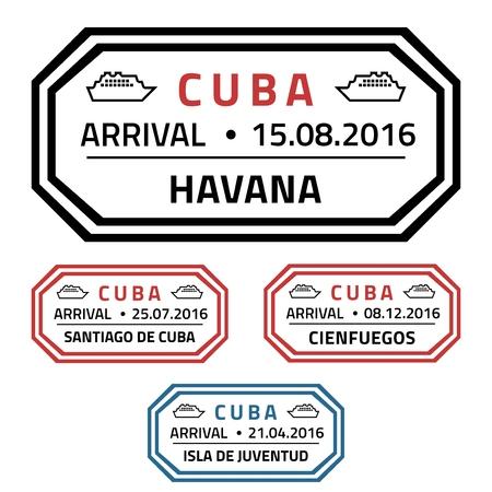 Cuba francobolli viaggi - nave da crociera distintivo destinazione.