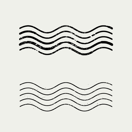 Grunge wave stamp - vintage port annulering mark.