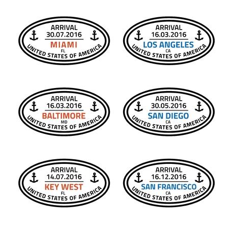 los angeles: USA travel stamps - cruise ship destination sea ports: Miami, Los Angeles, Baltimore, San Diego, Key West and San Francisco. Illustration