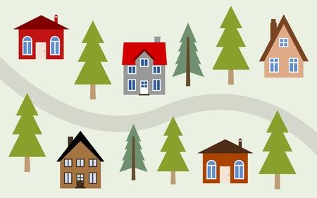 Cartoon village illustration - cute homes along the road.