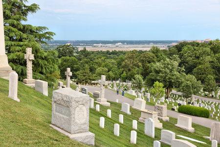 national military cemetery: WASHINGTON DC, USA - JUNE 13, 2013: Arlington National Cemetery in Washington. Arlington National Cemetery was established in 1864 and has more than 400,000 graves.