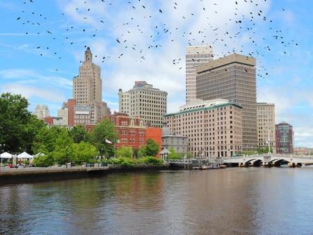 providence: Providence skyline with birds. Rhode Island capital city (United States). Stock Photo