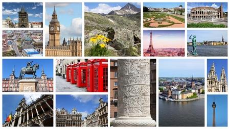 ヨーロッパのランドマークは、ベルリン、パリ、ローマ、ロンドン、マドリード、ブリュッセル、プラハ、アルプスとコラージュを旅行します。 写真素材