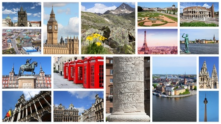 Europe landmarks travel collage with Berlin, Paris, Rome, London, Madrid, Brussels, Prague and Alps. Imagens