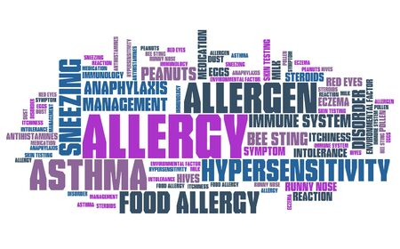 health collage: Allergies - health concepts word cloud illustration. Word collage concept.