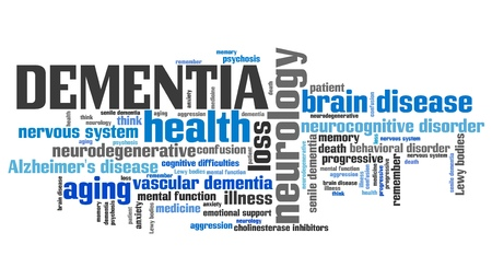 term and conditions: Dementia - elderly health concepts word cloud illustration. Word collage concept. Stock Photo